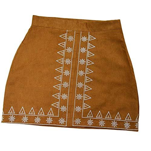 Rock,Brauner Vintage Wildleder Bestickter Rock Damen Herbst Winter Hohe Taille Kurze Miniröcke Damen Bleistiftröcke Streetwear, XL -