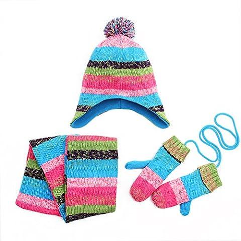 Pueri Kids Girls' Hat Scarf and Gloves Three-Piece Set Winter