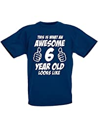 This Is What An Awesome 6 Year Old Looks Like - 6th Birthday Gift T-Shirt For Boys by LOLTOPS