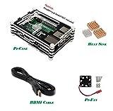Lwd 4en 1Kit de démarrage pour Raspberry Pi 2modèle B/3Heatpipes avec étui de haute qualité en acrylique, 3pièces, câble HDMI, et ventilateur de refroidissement