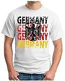 OM3® - Germany - T-Shirt Deutschland Fussball World Cup Soccer Fanshirt Sport Trikot, XL, Weiß