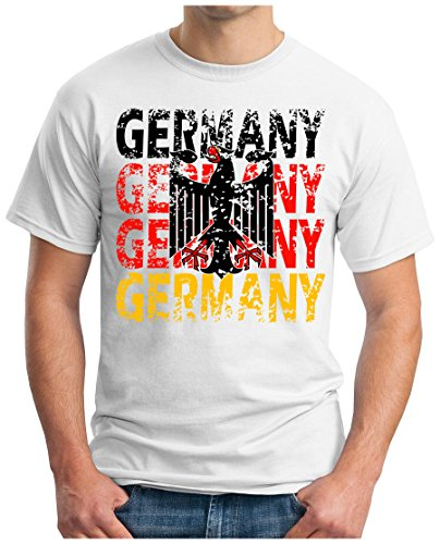 OM3 - GERMANY - T-Shirt DEUTSCHLAND WM 2018 Russland Fussball World Cup Soccer Fanshirt Moskau Sport Trikot Champion, 5XL, Weiß