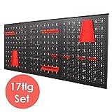 FIXKIT Werkzeuglochwand aus Metall mit 17 teilge Hakenset 120 x 60 x 2 cm, Werkzeugwand Lochwand für Werkstatt, Schwarz