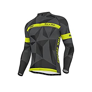 FDX Mens Classic Cycling Jersey Long sleeve Thermal Cold Wear Racing Jacket (Black/Grey/Yellow, Small)