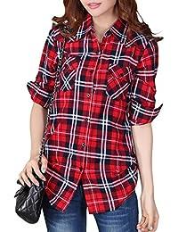 iBaste Femmes Chemise 100% Coton à Carreaux Lâche à Manches Longues à Grille Occasionnel Hauts Décontractée
