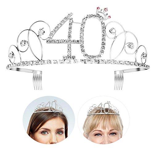 Frcolor Alles Gute zum Geburtstag 40. Silber Kristall Tiara Krone