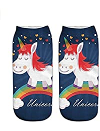 HENGSONG Femmes Fille Unicorn Cartoon Bas Chaussettes Sport Bottillons de Scène Colorful