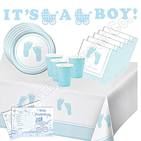 Baby Shower Easy Party Pack - Baby Boy Plaid Tableware & Decorations! (32 Guest)