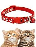 Iuyem Katzenhalsband mit Schelle?Haustiere Katzen Halsband aus Weichem Leder, Polsterung, Wetterfest, reißfest, Wasserabweisend,6Farben Halsbänder