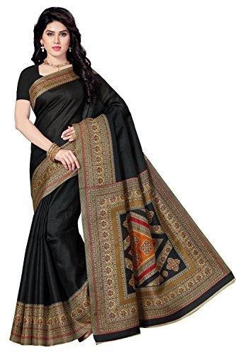 Rani Saahiba Printed Bhagalpuri Art Silk Saree ( SKR3423_Black )