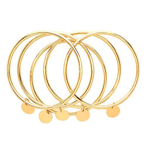 Front Row - Set di bracciali rigidi in colore oro