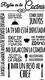 Enkolor Vinilo cocina/Pegatinas pared/Adhesivos Frases Normas/Negro/60X100cm.