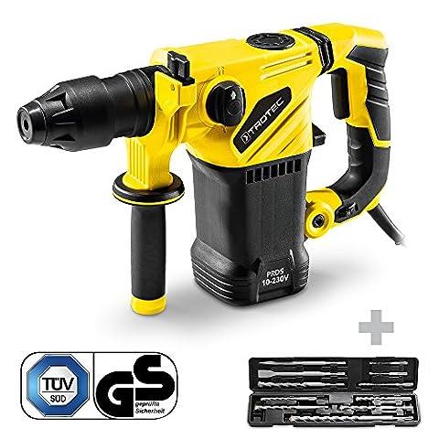 TROTEC Perforateur-burineur PRDS 10-230V (mandrin SDS-Plus, moteur 1500 W) avec Set de 11 mèches de forage et