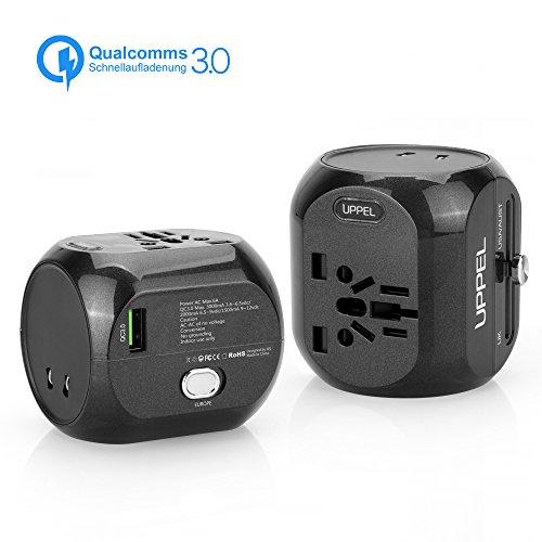 Reiseadapter QC3.0 Schnellladung, Sankoo Travel Adapter, Internationales Ladegerät, All-in-One-Steckdose-Adapter für USA, AU, Asien, EU, UK und über 150 Ländern (White) (Black)