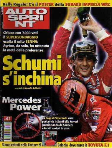 Autosprint Auto Sprint 41 Ottobre 2001 Senna, Navarra, Barrichello Schumacher