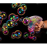 Prince International Electronic Bubble Gun Hand Pressing Bubble Making Toy Gun With Lights And 2 Bubble Solution Bottles (Color And Design May Vary)