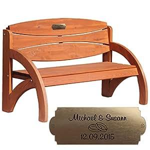 Hochzeitsbank mit Gravur, ideales Geschenk zur Hochzeit, zum Hochzeitstag oder Jahrestag – Hochwertige Holz Gartenbank mit Personalisierung aus massivem Fichtenholz