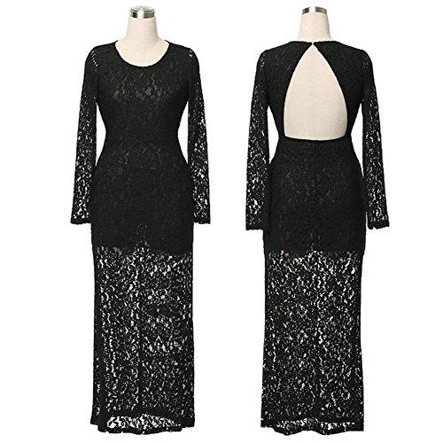 Langes Korsett Kleid Reizvolles Backless Spitze Kleid Ball Abschlussball Kleid der Frauen Schwarz