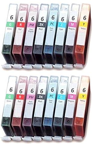 16 Compatibles BCI-6 Cartouches d'encre pour Canon Bubble Jet i9900 i9950 Pixma iP8500 - Noir/Cyan/Magenta/Jaune/Photo Cyan/Photo Magenta/Vert/Rouge, Grande Capacité