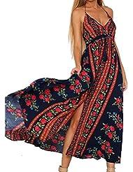 GWCSS Vestido Halter Con Cuello En V De Las Mujeres De La Moda De Impresión , Blue Color , M
