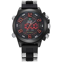 Alienwork DualTime LED Analogue-Digital Watch XXL Oversized Wristwatch Multi-function Polyurethane black black OS.WH-5202-04