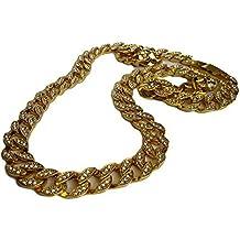 hombre XL TOTALMENTE ESMERILADO 91.4cm Miami Cubano Eslabón 14K HipHop plateado oro Bling Cadena