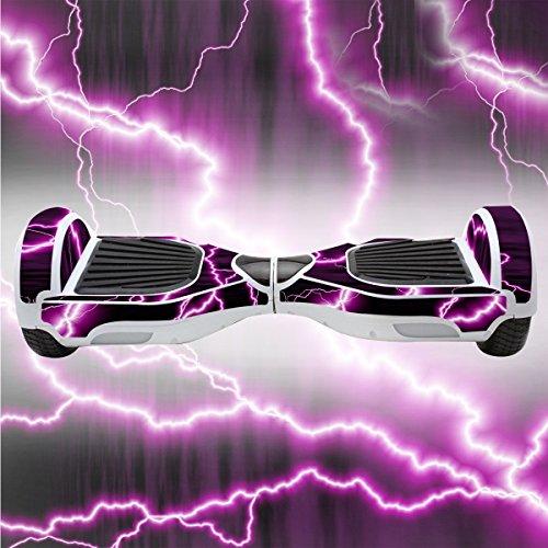 Elektro-Skateboards Elektro Scooter Self Balancing Scooter Aufkleber Elektroroller Roller Self Balance Board Sticker - Selbststabilisierendes Fahrzeug E-Board Schutzfolie Sticker Aufkleber - Purple Lightning von GameXcel ®