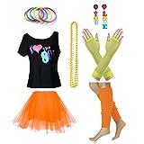 Fun Daisy Clothing Damen I Love The 80er Jahre T-Shirt 80er Jahre Outfit Zubehör, Gelb - UK 12-14 / S-M
