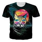 Loveternal T-Shirt Glasses Cat 3D Digital Impresa Verano Ocasional Manga Corta Tops Para Hombres XL