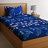 Home Ecstasy 100% Cotton Printed Bedsheet Set 3016 SGL (Blue,Single)