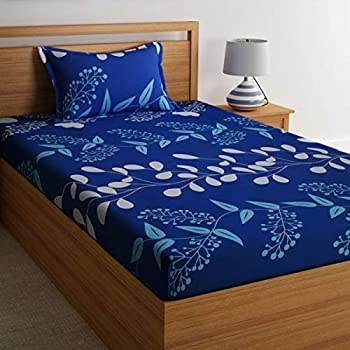100% Cotton Bedsheets for Single Bed Cotton with 1 Pillow Cover, Home Ecstasy 144 TC Printed Blue Bedsheet