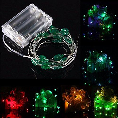 MASUNN 2M 18 LED-Batterie betrieben Xmas vier Blatt Klee String Fairy Lichter Party Hochzeit Weihnachten Dekor-rot (Licht-t-shirt Klee)