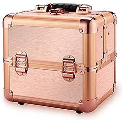 Ovonni Coffret Maquillage Mallette de Maquillage Valise de Maquillage Vanity-Case Professionnelle en Aluminium avec Serrure Délicate et Clé pour Studio Beauté Boîte de Rangement Maquillage Cosmétique