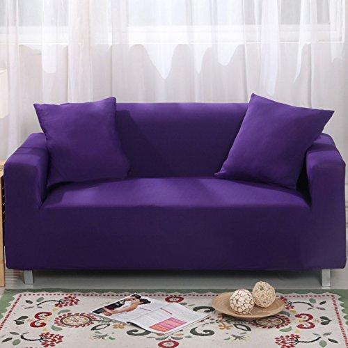 MAXWOW Funda de sofá elástica para los Animales domésticos, Antideslizante Acolchado 1-Pieza Poliéster Spandex Todo Incluido Cubierta del sofá Sala de Estar -Morado Asientos de Amor