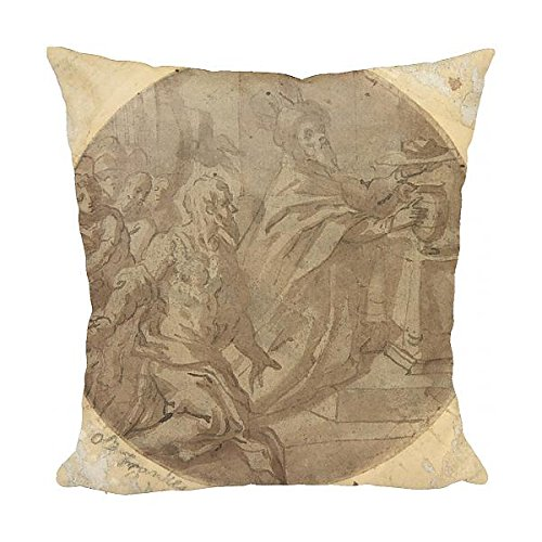 Media Storehouse 12x12 Cushion of Melchizedek Offering Bread and Wine, 16th century, Pen and brown ink (14036651)