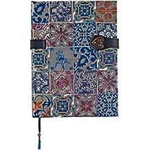 Boncahier 105014 Notizbuch 17.5 x 13 cm, 144 Seiten, liniert, Portugal Motiv, blau/silber