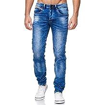 MEGASTYL Herren Hose Stone-Washed Jeans Grau Slim-Fit 5-Pocket Jogg-Denim