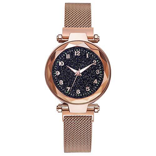 DEAR-JY Watch Damen, Damen Sternenhimmel Uhr, mit Magnetband und Armband, lässig wasserdicht Quarz einzigartige Uhr,Gold