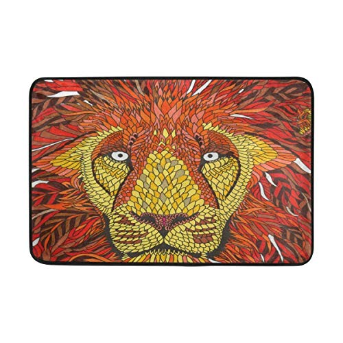 Klotr Fußabtreter, Anti Slip Welcome Door Mat Hipster Lion Pattern Washable Entrance Doormat Indoor Outdoor for Home Decor, 23.6 x 15.7 Inches -