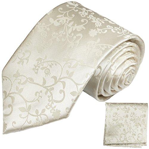 Paul Malone Krawatten Set 100% Seide Ivory elfenbein Hochzeitskrawatte fleckabweisend+ Einstecktuch