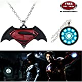 "(2 Pcs SET) - BATMAN SUPERMAN DAWN OF JUSTICE LOGO (BLACK METAL) & IRONMAN ARC REACTOR (SLV2) SILVER COLOUR 3D GLASS DOME SMALL IMPORTED PENDANTS WITH CHAIN. LADY HAWK DESIGNER SERIES 2018. ❤ ALSO CHECK FOR LATEST ARRIVALS OF ""LADY HAWK&qu"