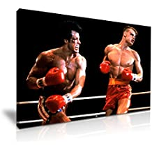 Rocky Balboa VS Ivan Drago imagen impresa lienzo pared arte 76x 50cm color