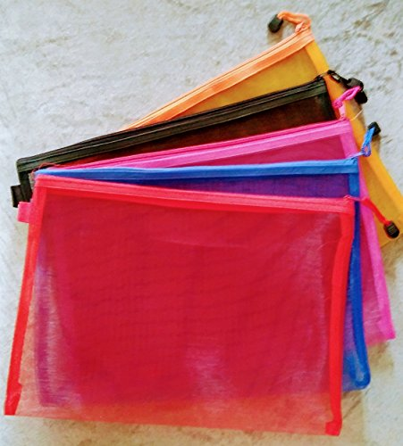 Shop Buzz Pack of 6 Transparent Zippered Nylon Mesh Big Size Multi Purpose Pouch/Organiser for Fruits and Vegetables in Fridge (Assorted Colours A4 Size 34 x 24 cm) 517b4XZj8JL