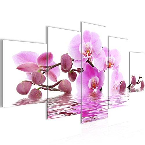Photo Fleurs d'orchidée Décoration Murale 200 x 100 cm Toison - Toile Taille XXL Salon Appartement Décoration Photos d'art Blanc 5 Parties - 100% MADE IN GERMANY - prêt à accrocher 200651a