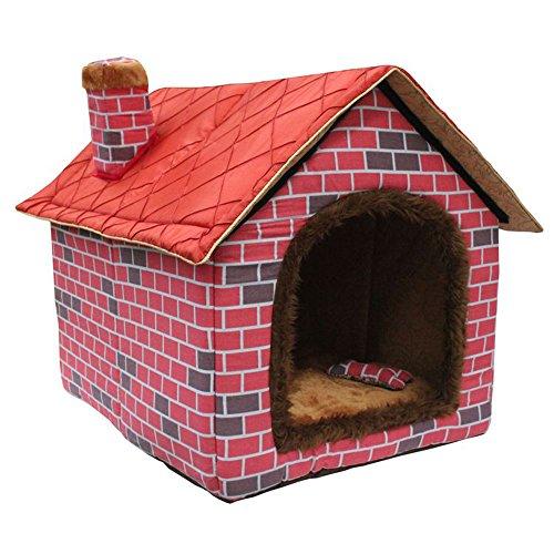Tofern Schornstein Stil Tier Hund Katze Leinwand Plüsch Lederbett-Haus Hundehütte Mit Wasserdichtem Basis, rosa, M
