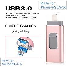 FeliSun Nuevo diseño de 64 GB USB i-Flash Drive Memory Stick adaptador de lector de tarjetas con tres interfaces [Lightning, USB3.0 y Micro USB] Para iPhone iPad iPod Android Celulares Tablets PC Macbook