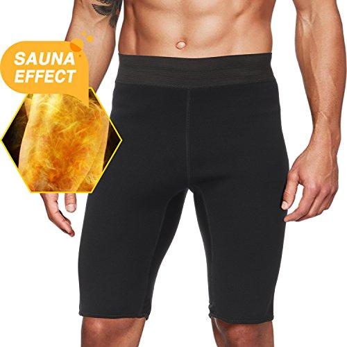 Roseate Herren Hot Sweat Saunahose Thermo Slimming Shorts Oberschenkel Shaper für Gewichtsverlust Neopren Fat Burner, Herren, schwarz, Large -
