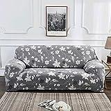 Nannan Moderne bedruckbare Stretch waschbare Sofabezug Staubdichte Möbelschutz Schonbezug Sessel Wohnzimmer Couchbezug-Grau_2-Sitzer 145-185 cm