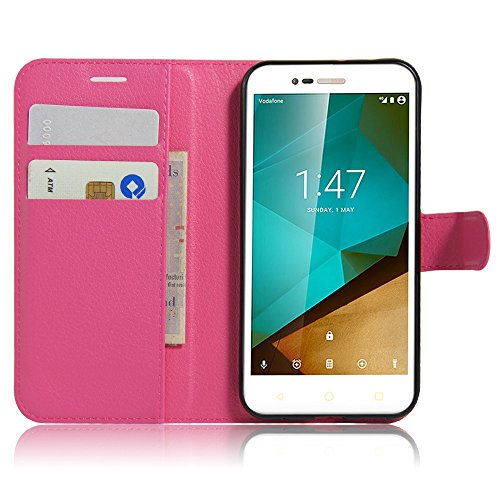 Tasche für Vodafone Smart Prime 7 Hülle, Ycloud PU Ledertasche Flip Cover Wallet Case Handyhülle mit Stand Function Credit Card Slots Bookstyle Purse Design Rose Red