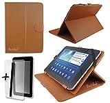 Braun PU Leder Cover Case Protector & Ständer für CSL Panther Tab 7, ATOM Z3735G 17,8cm Zoll Tablet PC + Displayschutzfolie und Eingabestift